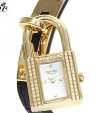 HERMES KELLY WATCH 18K Solid Yellow Gold Diamond Bezel Leather Belt Bracelet