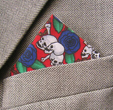 SUPERNOVA Skull & Roses Pocket Square Handkerchief Indie Goth Halloween