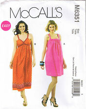 Easy Bra Top or Square Neck Sun Dress Straps McCalls Sewing Pattern 14 16 18 20