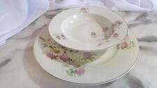 TK Thun Bohemia Dinner Plate Soup Bowl Set 1951 White Pink Daisies Clover