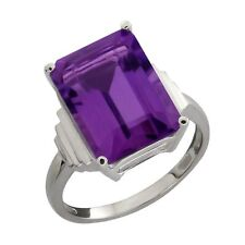 New 7.10 Ct Emerald Cut Natural Purple Amethyst 925 Sterling Silver Ring