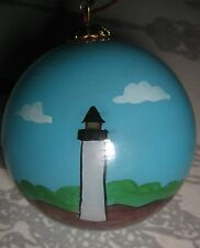 Lighthouse INSIDE HAND PAINTED Glass CHRISTMAS Ball Ornament MIB