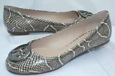 Tory Burch Reva Shoes Black Ballet Flats Size 8.5 Natural Cobra Print NIB