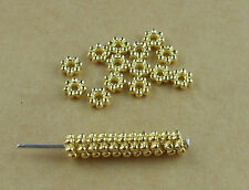 200Pcs 4mm Gold Plated Tiny Daisy Spacer Loose Beads