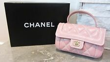 CHANEL AUTHENTICATED Handbag Gold Plated Quilted Bag Pink Wild Stitch Small Flap