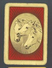 Playing Swap Cards 1 WIDE VINT  ENG  THREE WHITE HORSE HEADS  IN OVAL   EW61