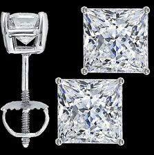 Princess Cut Solitaire Lab Diamond Stud Earrings Sterling Silver Screw Back