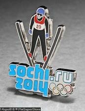 OLYMPIC PINS BADGE 2014 SOCHI RUSSIA CUT OUT SPORT OF SKI JUMPING (SILVER )