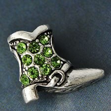 Womens Gold Filled Silver Shoe Charm Green crystal Stone Pendant Fit Necklace