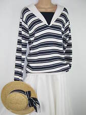 LAURA ASHLEY VINTAGE NAUTICAL SAILOR COLLAR NAVY/WHITE STRIPED  JUMPER, S/M
