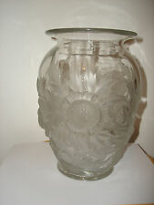 "True Collectible Art Deco 30's Verlys Alpine Thistle 9"" Tall Frosted Glass Vase"
