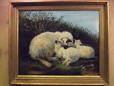 Vintage Naive English school  oil painting of a Ewe with her two lambs