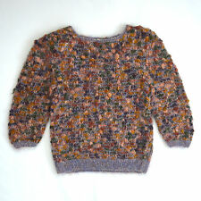 Vintage Speckled Multi Color Mohair Wool Knit JENNINGS 3/4 Sleeve Sweater Top M