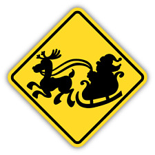 "Santa Traffic Sign Funny Car Bumper Sticker Decal 5"" x 5"""