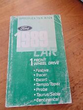 1989 Ford Car Specification Book Tempo Topaz Probe Taurus Sable Continental