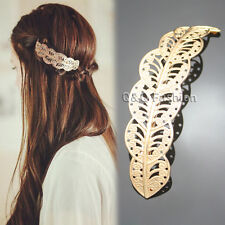 Fab Gold Big Leaf Feather Filigree French Updo Hair Pin Clip Dress Snap Barrette