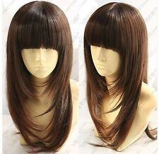 UKJF07  charming Popular Long brown straight hair hair wig  wigs for women