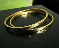 Hammered Oval Bangles Bracelets Set of 2 HANDMADE Solid 18K Gold HEAVY!!