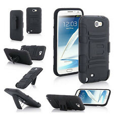 Black Heavy Duty Hybrid Rugged Case Cover Stand For Samsung Galaxy Note 2 N7100