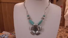 Brand new Tibetan silver necklace with a large flower and turquoise beads + box