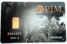 1 Nadir PIM Gold Goldbarren 1,00 Gramm Feingold 999,9 Goldcard 1,0g, 1g, LBMA