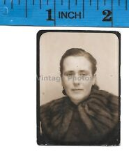 Vintage Photo Photobooth photo of lady looking somber  #1310