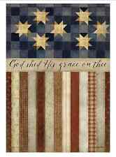 """GOD SHED HIS GRACE ON THEE 28""""x40"""" Patriotic Folk Art Country House Flag"""
