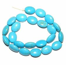 T248f Blue Turquoise 17x13mm Puffed Falt Oval Magnesite Gemstone Beads 16""