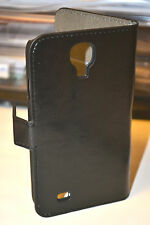 Black Genuine Leather Wallet Case Cover for Samsung Galaxy S4 i9500 i9505 LTE 4G