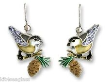Zarah CHICKADEE EARRINGS Sterling Silver & Enamel Yellow Bird - DISCONTINUED