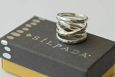 "Silpada NIB ""Wrapped Up"" Hammpered Sterling Silver Wrap Size 6 Band Ring R3475"