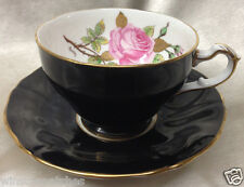 ADDERLEY BONE CHINA F221 FOOTED CUP & SAUCER 8 OZ PINK ROSES BLACK LAWLEY