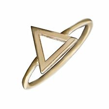 Geometric Triangle Ring in Solid 14k Yellow Gold Midi Band 9 mm Jewelry