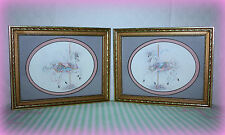 """EUC SET OF 2 CAROUSEL HORSES MATTED PICTURES IN GOLDEN FRAMES 9"""" x 7 1/8"""" x 3/4"""""""