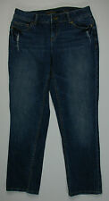 Vera Wang Simply Vera Straight Leg Distressed Blue Jeans Women's Size 6