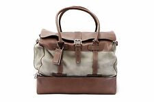 NWT $4895 Brunello Cucinelli Mens 100% Leather 2Tone Logo Travel Bag With ID Tag
