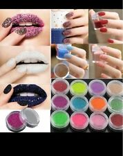 Nail Art Jari Flocking Dust Powder Polish Manicure Tips Decoration - 12 Colors