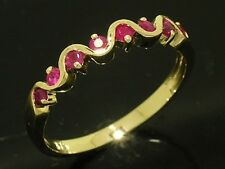 R108 - Genuine SOLID 9ct Yellow Gold Natural RUBY Wedding, Eternity Ring size O