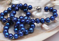 """Fashion 8-9mm Real Blue akoya cultured pearl necklace 18"""""""