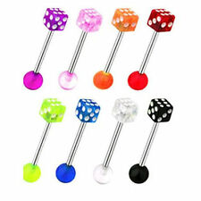 Set of 8 x DICE Tongue Bars Tounge Piercing Nipple Barbell Body Jewellery E34