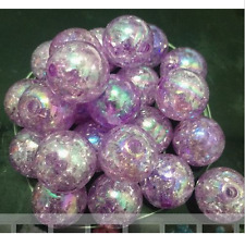60pcs purple Crackle Glass Round 12mm Beads Jewelry Findings Craft Bead Supply