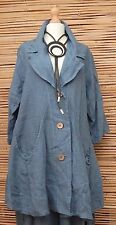 LAGENLOOK LINEN BEAUTIFUL A-LINE 2 POCKETS LONG JACKET*DUSTY BLUE*BUST UP TO 50""