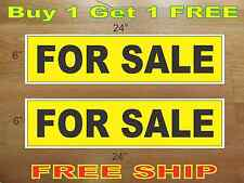 "FOR SALE Yellow & Black 6""x24"" REAL ESTATE RIDER SIGNS Buy 1 Get 1 FREE 2 Sided"
