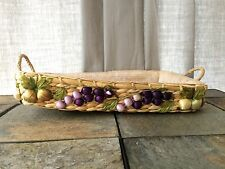 Vintage Woven Basket~Straw~1970's~Fruit~Lined~Pair~Casserole