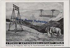 Colonia, publicidad 1940, j. Pohlig AG alambre funiculares para el transporte de larga V. madera