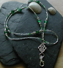 """Celtic Green"" Glass Beads ID Lanyard Badge Holder Handmade ID Necklace"