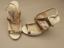 JIMMY CHOO GOLD STUD CROCHET PLATFORM SANDALS BN £380+ 5.5uk - 38.5 HEELS SHOES