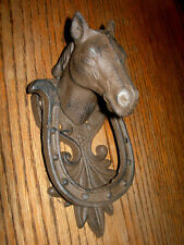 CAST IRON- Horse Head With Lucky Horse Shoe Door Knocker Mounted Western Decor