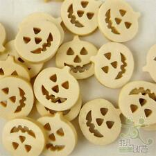 50pcs Brown Wooden Pumpkin Halloween Buttons Lot 18mm Craft/Kids Sewing Cards