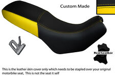 BLACK & YELLOW CUSTOM FITS CAGIVA GRAN CANYON 900 DUAL LEATHER SEAT COVER